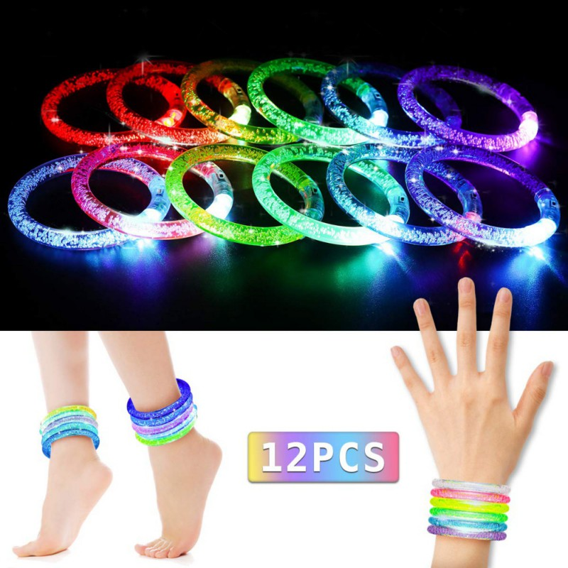 Bracelet lumineux 12 pièces/ensemble bâtons lumineux Bracelets d'éclairage clignotant Bracelet lumières Bracelets pour enfants fête d'anniversaire Disco Hallow