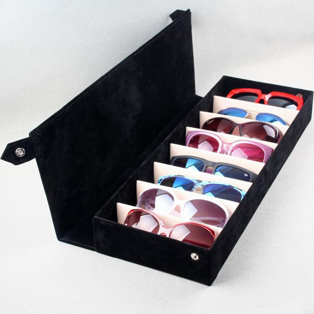 Fashion Durable 8 Grids Eyeglass Sunglasses Storage Box Display Grid Glasses Stand Case Eyewear Accessories