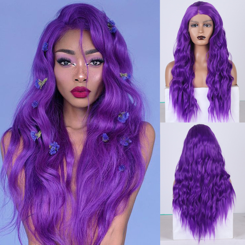 RONGDUOYI Long Purple Hair Synthetic Lace Front Wig Natural Wave Lace Wigs For Women Side Part Heat Resistant Hair Cosplay Wig