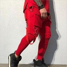 Men's ribbon multi pocket cargo pants Harem jogger Harajuku