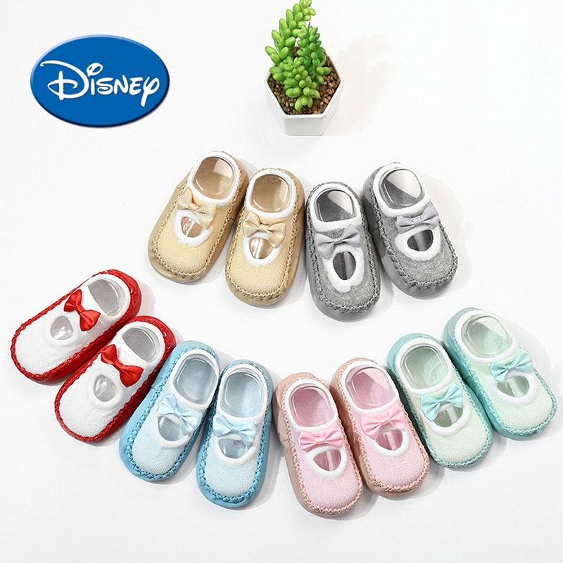 Disney Kids Cotton Foot Socks Shoes Toldler Baby Socks Cartoon Girl Anti-slip First Walkers