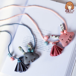 His Wife New Style Bunny Bow Tassels Beads CHILDREN'S Necklace CHILDREN'S Clothing Store Accessories Decoration Sweater Chain