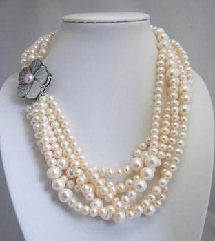 Unique Pearls jewellery Store White Round Genuine Freshwater Pearl Necklace Shell Flower Clasp Charming Women Gift Fine Jewelry
