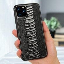 FHX YJ di lusso della cassa del telefono cellulare del grano dei piedi dello struzzo del cuoio genuino della mucca per iPhone 6 6s 7 più 8 più X XS MAX XR 11 11 Pro MAX