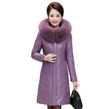 Winter Women Sheepskin Leather Down Jacket Fox Fur Collar Long Parkas Hooded Coat Female Plus Size 8XL Thicken Warm Long Coats цена в Москве и Питере