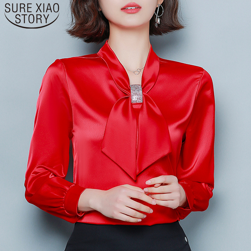 2020 Spring Bow Silk Clothes Office Lady Korean Fashion Clothing Solid Loose Long Sleeve Women Tops And Blouses  8493 50