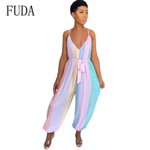 FUDA Summer New Arrival Patchwork Sexy Spaghetti Strap Jumpsuits Elegnat Multicolor Bloomers Fashion Straps Playsuits for Women