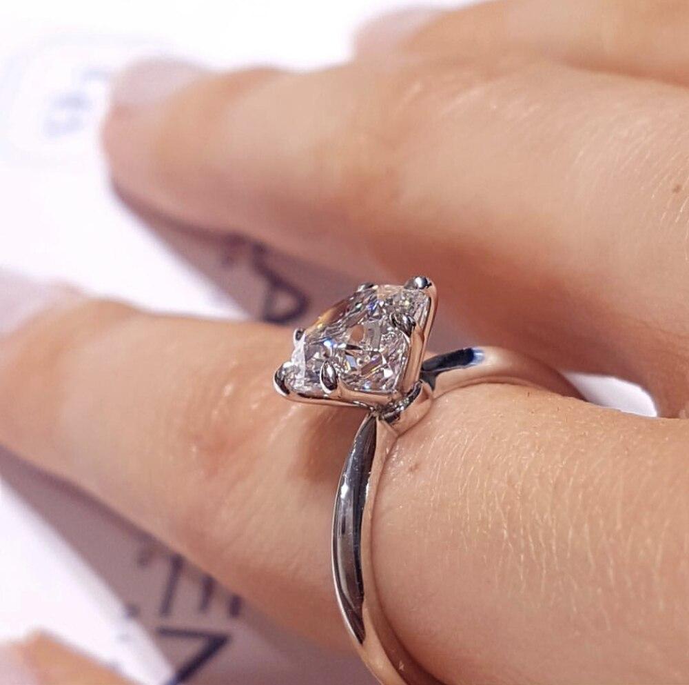 Classique six griffes anneaux doigt émeraude 925 en argent Sterling 2ct créé Moissanite mariage bague de fiançailles anniversaire bijoux