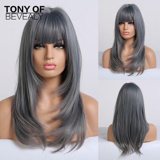 Pelucas de pelo largo ondulado sintético resistente al calor para Mujeres Afro Americanas, color azul degradado, con flequillo