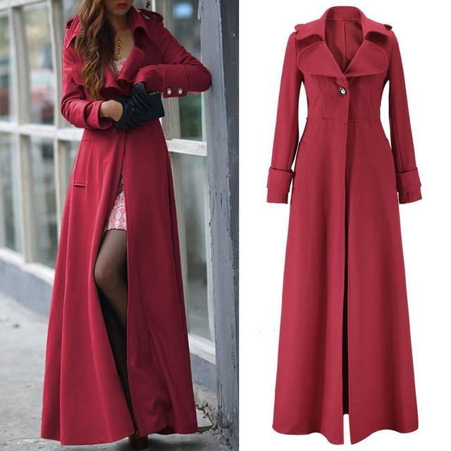 Oversized S-2XL Women's Long Trench Coats Autumn Winter Thick Long Sleeve Windbreaker Cardigan Overcoats Outwear 2021 1