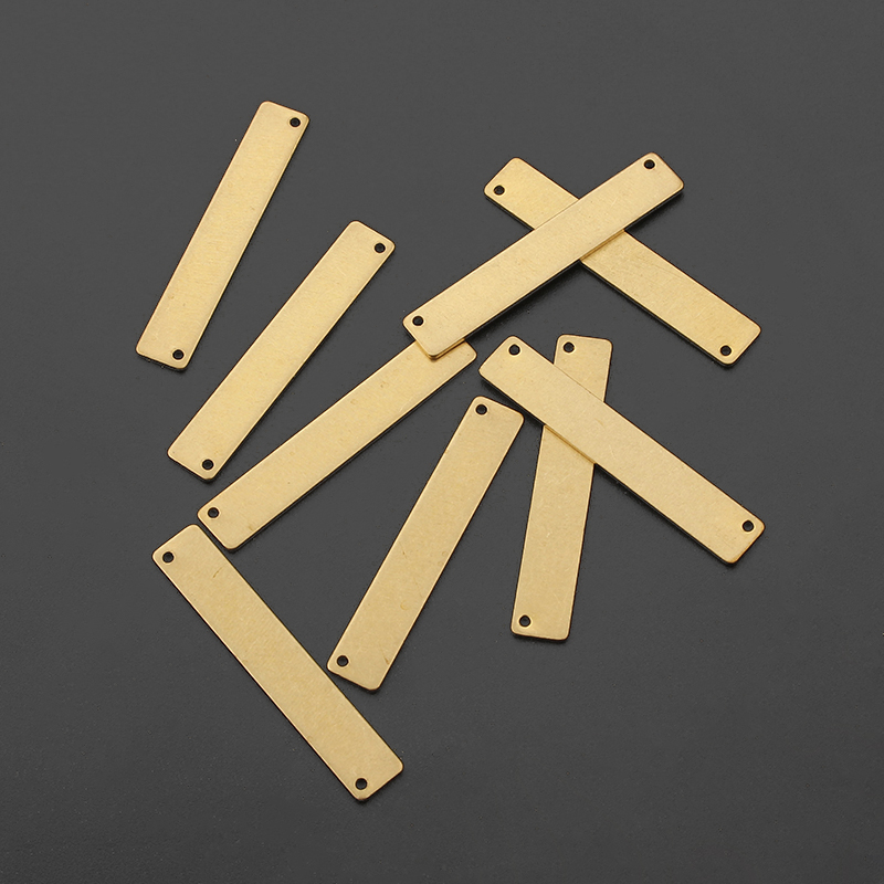 20pcs Raw Brass Rectangle Stamping Blank Engraving Charms Connector For DIY Bracelet Jeweley Findings Making 35*6mm