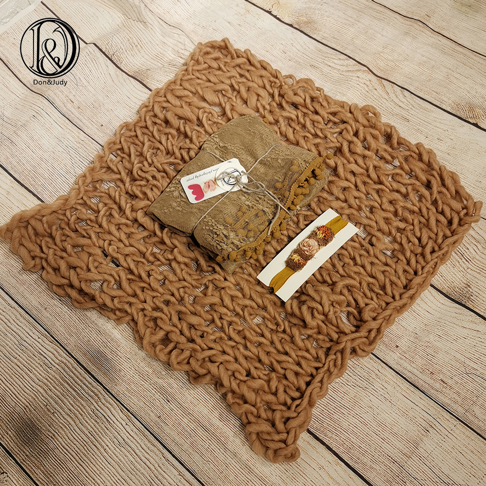 Don&Judy Newborn Baby Photography Wool Blanket+Wrap+Headwear Sets Props Infant Baby Accessories Girl Boy Photo Shoot Posing Prop