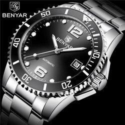 BENYAR nowy klasyczny czarny Dial Top luksusowa automatyczne mężczyźni oglądać mężczyźni mechaniczne ze stali nierdzewnej zegarki wodoodporne Relogio Masculino