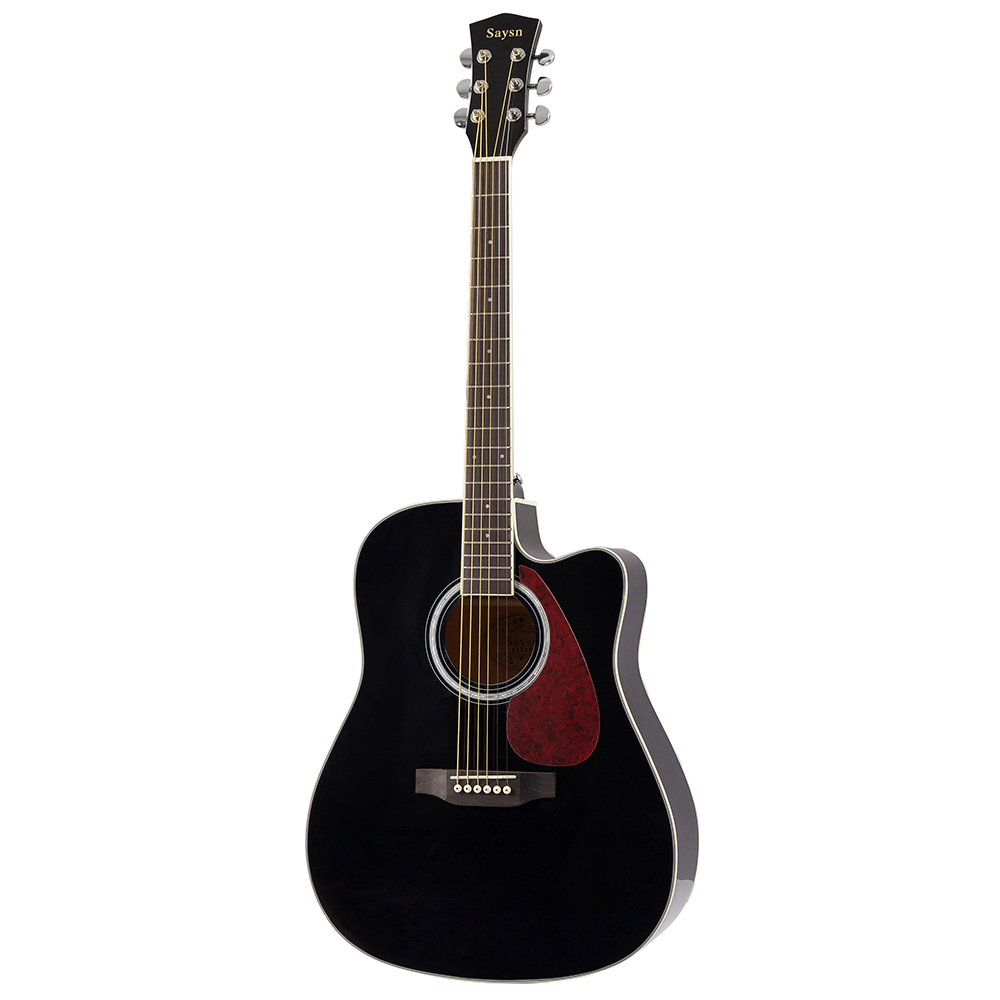 SAYSN 41 Spruce Acoustic Guitar black color Rosewood Fingerboard cutaway Guitarra Musical Instrument for Beginners image