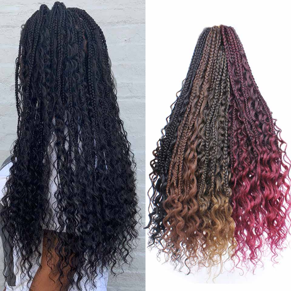 Xtrend Synthetic Boho Crochet Braid Bohemian Box Braids Crotchet Hair Extensions Ombre Braiding Braided Messy Goddess title=