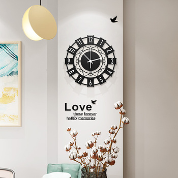 Geometric Abstract Wall Clock Modern Design 3D Living Room Creative Digital Large Decorative Wall Clocks Free Shining Home Decor