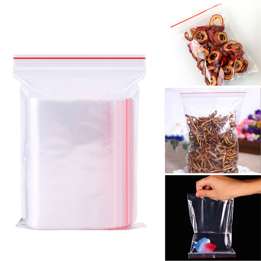 100pcs Plastic Bags Ziplock Food Packaging Jewelry Small Zip Lock Bags Clear Fresh-Keeping Dustproof Reclosable Candy Storage