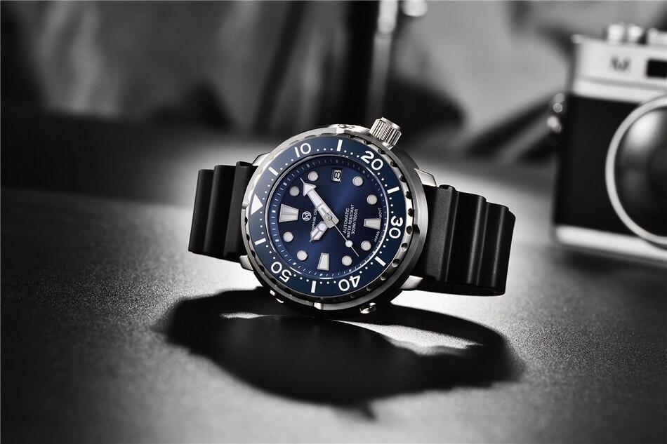 mecânico relógio de pulso aço inoxidável 300m