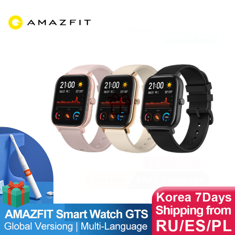 Global Version NEW Amazfit GTS Smart Watch 5ATM Waterproof Swimming Smartwatch  Battery Music Control  IOS Phone for xiaomi