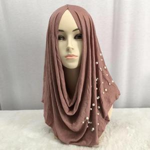 Image 3 - Tampa turbante de algodão elástico feminina, chapéu da índia para mulheres, envoltório de cabeça feminino, cachecol de cabeça islâmico, pérolas, hijab, turbantes musculares, 2020