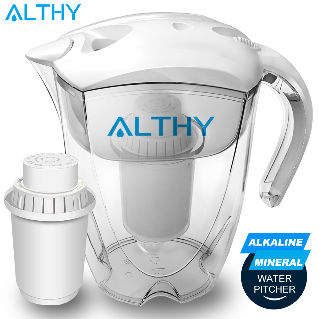 ALTHY 3.5L Mineral Alkaline Water Pitcher Filter Ionizer - 400L Long-Life Filters - Purifier Filtration System - PH Alkalizer