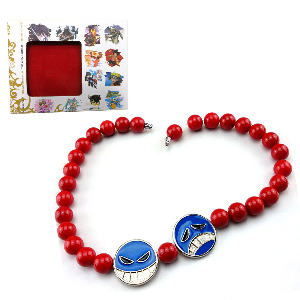Charm Anime One Piece Portgas D Ace Red Beads Necklace White <font><b>Beard</b></font> Pendants Necklaces Cosplay Cosplay Props High Quality Jewelry image