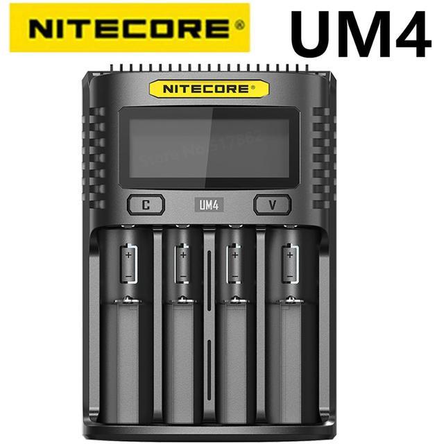 Nitecore cargador inteligente UM4 con cuatro ranuras USB, circuito de control de calidad, seguro Global, cargador li ion AA 18650 14500 16340 26650