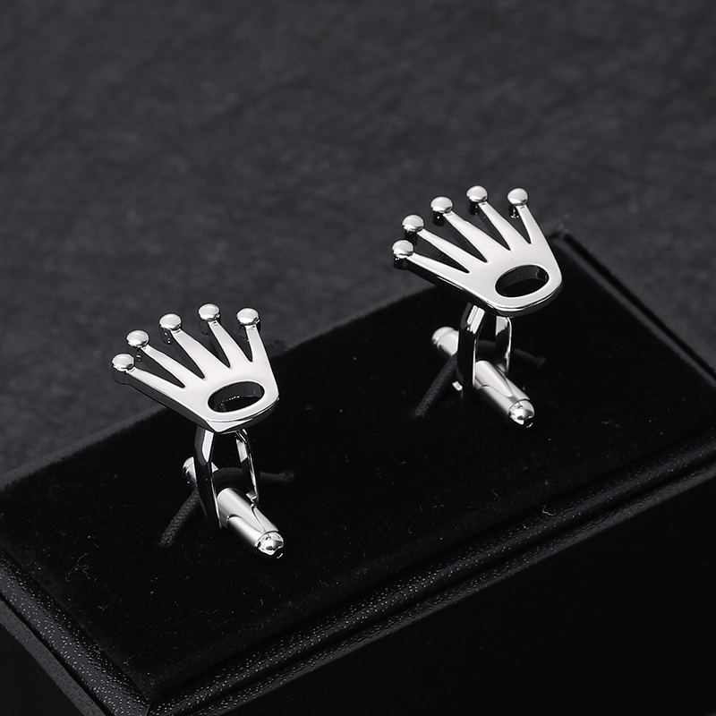 Men Gift New Crown Cufflinks Fashion Shirt Button  Crown Wedding Groom Laser Cufflinks High Quality Business Men's Jewelry
