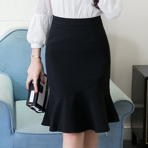 Image 5 - S 5XL 2020 Women Pencil Skirt Fashion OL Slim Bodycon Business Wear Ruffles Hem Mermaid Style Plus Size Ladies Office Skirt
