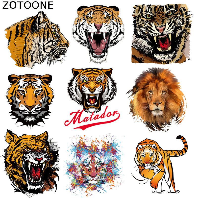 Iron-on Cute Animals Tiger Heat-sensitive Patches Stickers Iron On Patches Thermo Transfer For Clothes Decor DIT T-shirt