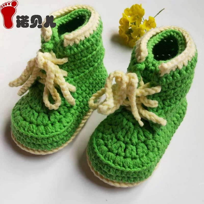 QYFLYXUE Baby's Wool Shoes Hand Woven Baby's Shoes Wool Shoes Lace Up Baby's Bean Shoes Cowboy Shoes Finished Shoes
