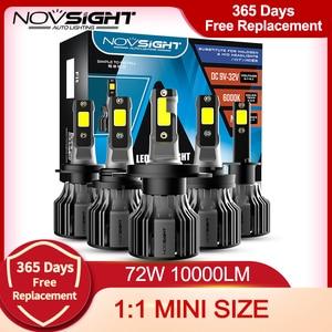 Image 1 - NOVSIGHT Led reflektor samochodowy H1 H3 H4 H7 H11 H8 H9 H13 9005 9006 9007 9003 72W 10000LM 6000K reflektor samochodowy żarówki do lamp przeciwmgielnych