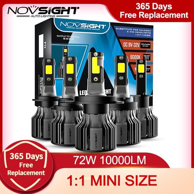 NOVSIGHT Led reflektor samochodowy H1 H3 H4 H7 H11 H8 H9 H13 9005 9006 9007 9003 72W 10000LM 6000K reflektor samochodowy żarówki do lamp przeciwmgielnych