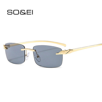 SO&EI Vintage Unique Cheetah Rimless Rectangle Sunglasses Women Candy Colors Clear Lens Eyewear Brand Designer Men Sun Glasses