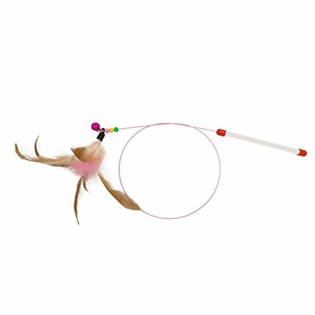 Z drutu metalowego zabawny kot kij kot zabawkowe zwierzątko zabawki z piór dzwonki śmieszne kot biegun zwierzęta domowe są artykuły wędkarskie kurczaka włosy śmieszne kot kij