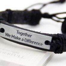 Together we make a differenc Genuine Leather Bracelets Men Bracelets