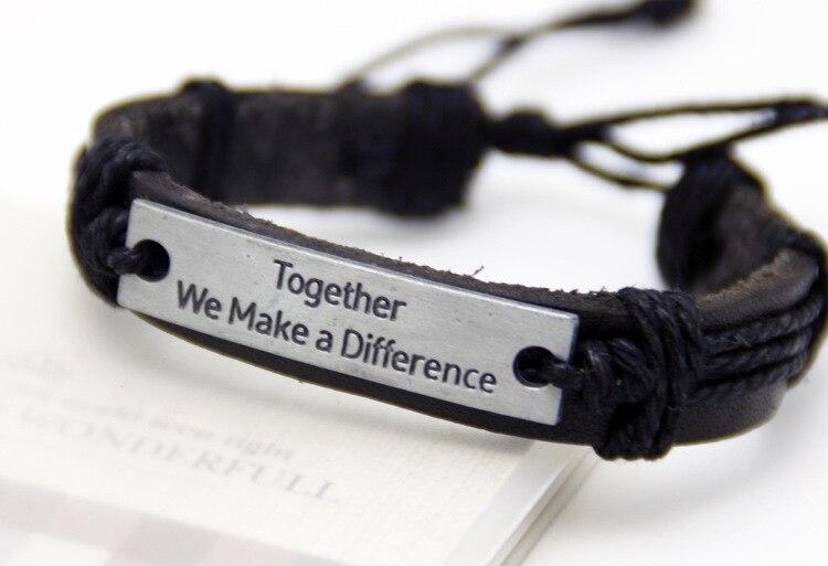 Together we make a differenc Genuine Leather Bracelets Men Bracelets Wristband Fashion Wrap Real Leather Bracelets Women Jewelry