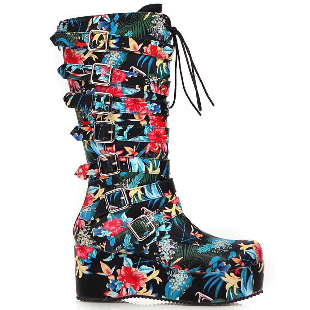 Yeni gelenler artı boyutu 33-46 kama yüksek topuklu tokaları ayakkabı kadın botları kadın platformu orta buzağı çizmeler kadın ayakkabıları