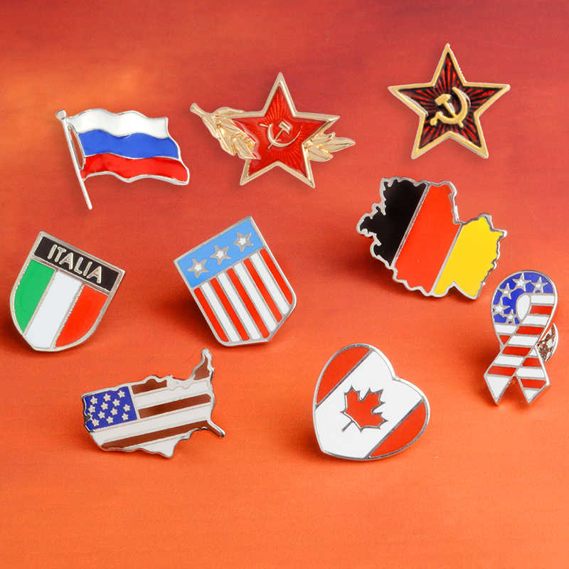 Bendera Nasional Pin Bahasa Rusia Italia Amerika Serikat Jerman Bendera Kerah Pin Lencana GARIS dan Bintang Bros Perhiasan Hadiah Wholesal