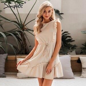 Image 2 - Simplee Sleeveless ruffled women dress High waist belt o neck a line summer dress Cotton solid female spring office mini dress