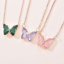 Nova borboleta colar popular temperamento transparente borboleta pingente de luxo colar feminino jóias menina baile presente