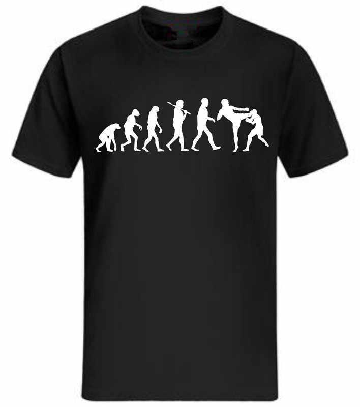 Camiseta de la evolución de la lucha definitiva de los hombres Muay Thai hardcore camiseta fight Fun divertida Camiseta de algodón camisetas negras de talla grande S ~ 3XL