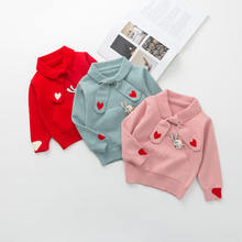 A Generation of Fat 2018 Autumn And Winter New Style Girls Heart Bow Tie Sweater Girls Foreign Trade Base Shirt Wholesale(China)