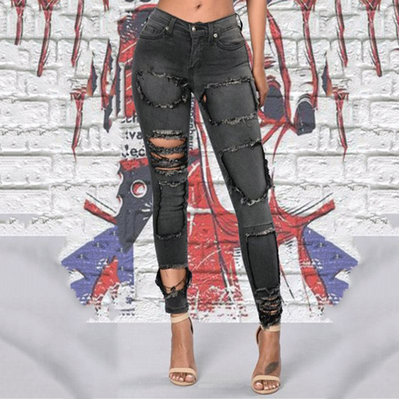 Sexy Club Punk Gothic Gray Fall 2019 Women Pencil Pants Skinny Denim Thin Hole Plain Autumn Female Chic Goth Plus Size Jeans