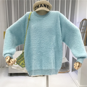 2019 Winter Mink Cashmere O-Neck Casual Loose Womens New Arrival Sweaters Fashion Pullover Women Tops blue