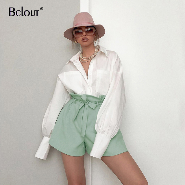 Bclout High Waist Slim Hot Shorts Women Bandage Summer Casual Short Pants Ladies 2020 Streetwear Zipper Belt Shorts Polyester
