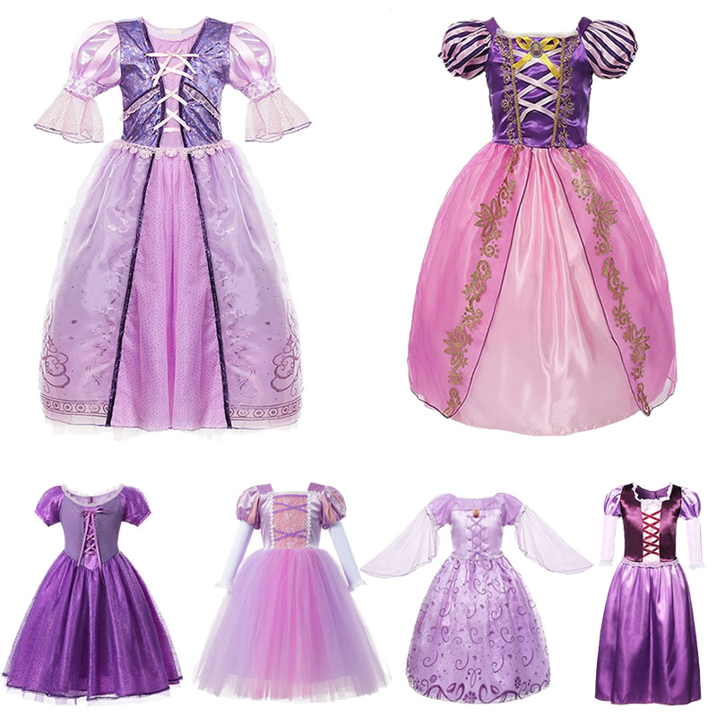 <font><b>Girls</b></font> Rapunzel Tangled <font><b>Dress</b></font> Kids Fancy <font><b>Princess</b></font> Costume Cartoon Movie Modeling Frock Toddler Purple Ball Gown Party Accessories image