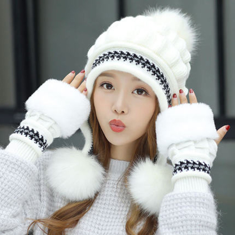 Fashion Women Knitted Hat Gloves Set Xmas Warming Beanie Hat Full Cover Glove Kit For Winter 2019 Winter Hat For Women Casquette