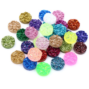 New 8mm 10mm 12mm 40pcs Druzy Natural Ore Style Flat Back Resin Cabochons For Bracelet Earrings DIY Jewelry Making Accessories