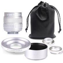 Prata fujian 50mm f1.4 cctv tv lente da câmera + C-EOSM lente capa para canon EF-M eosm mirroless câmera m1/m3/m5